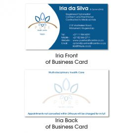 Iria Da Silva, Pure Health Centre - Generic Business Cards