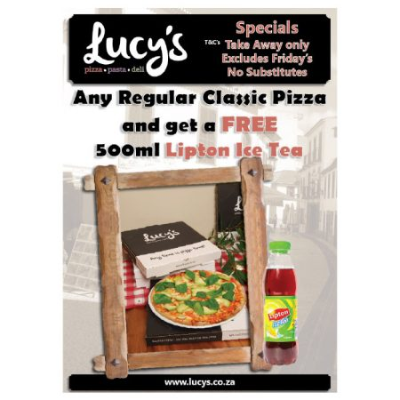 Lucys-regular-pizza-and-Lipton-ice-tea